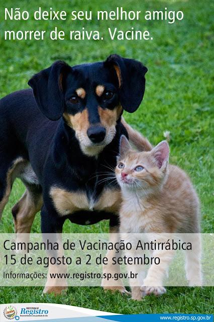 Secretaria  Municipal de  Saúde pretende vacinar 14 mil cães e gatos contra a raiva em Registro-SP