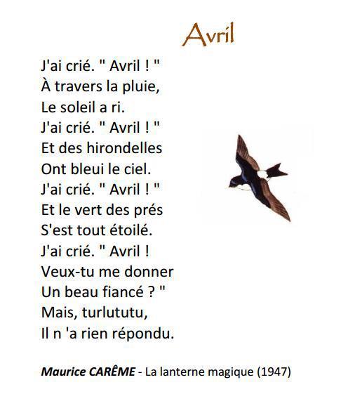 """Préférence Franc - falar: Un peu de poésie: """" Avril"""" de Maurice CARÊME CS14"""