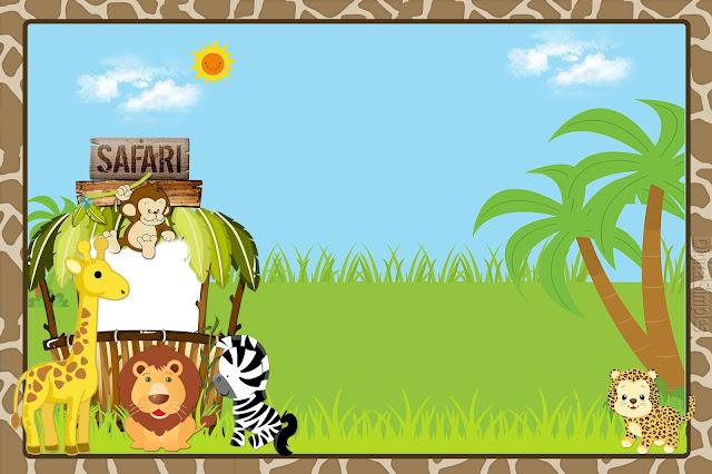 Para hacer invitaciones, tarjetas, marcos de fotos o etiquetas, para imprimir gratis de Safari Bebés.
