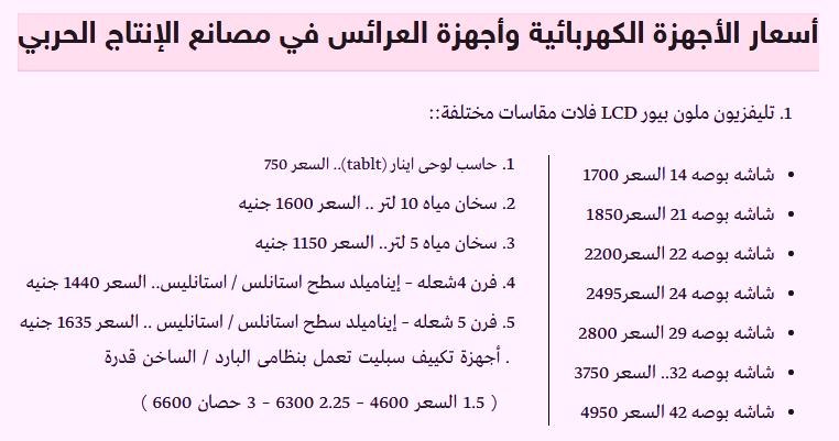 """وزارة الانتاج الحربى تطلق اجهزة كهربائية بأسعار تبدأ من 750 جنيه """" تليفزيونات - ثلاجات - سخانات - تكيفات وحاسبات - افران """" ومنافذ بيعها"""