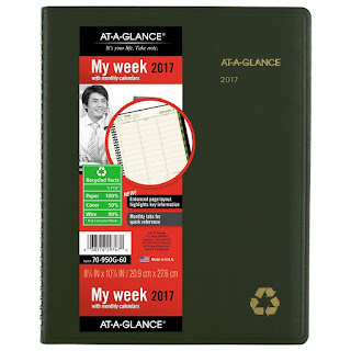 recycled at a glance weekly planner
