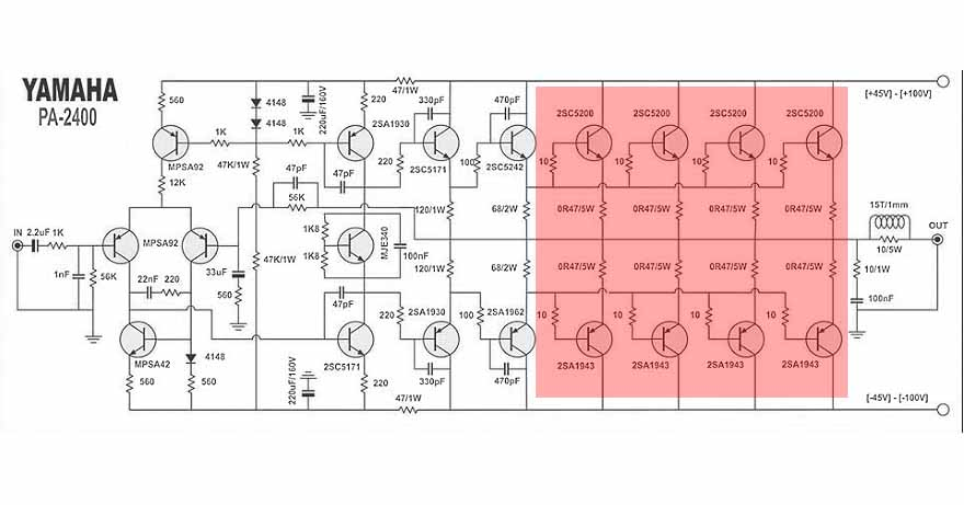 Yamaha Power Amplifier PA2400 Schematic & PCB  Electronic Circuit