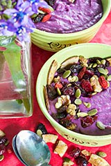 Purple Sweet Potato Coconut Cream Breakfast Bowl with High Antioxidant Trail Mix