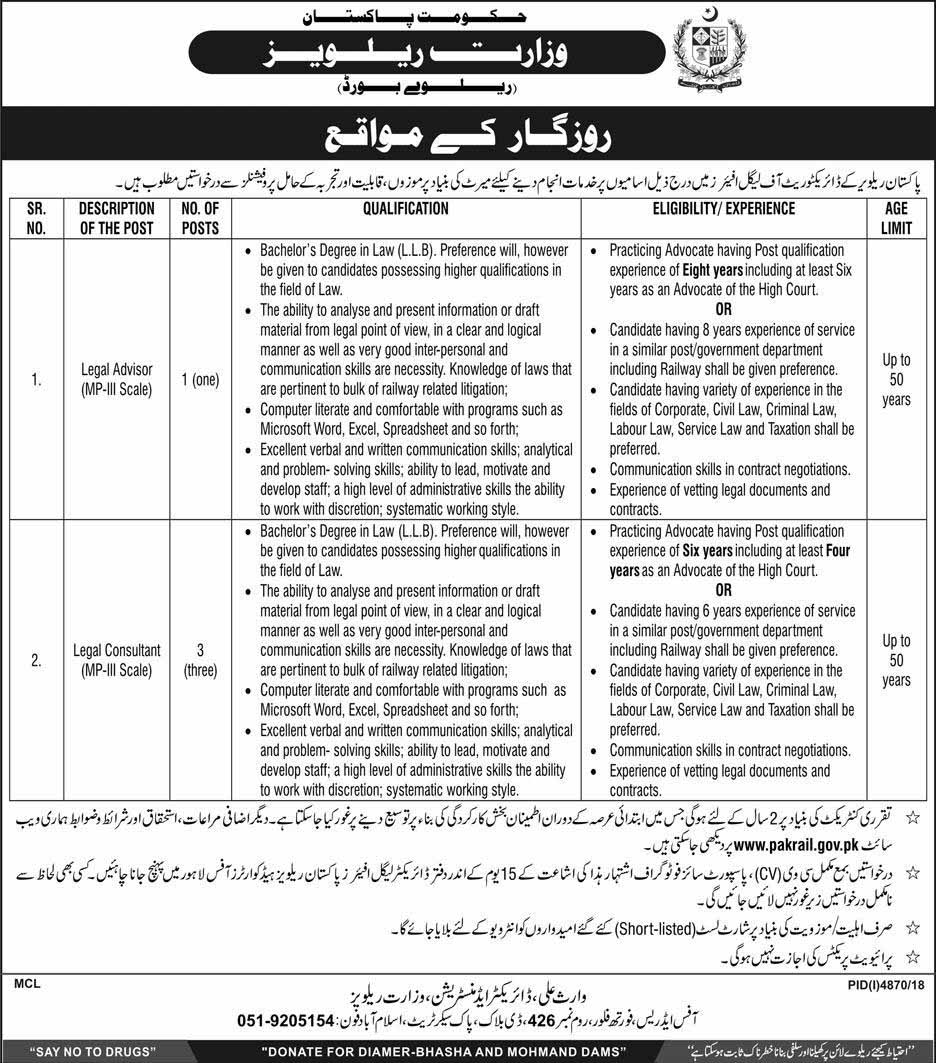 Govt Jobs in Ministry of Railways April 2019