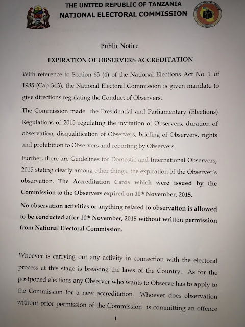 EXPIRATION OF OBSERVERS ACCREDITATION