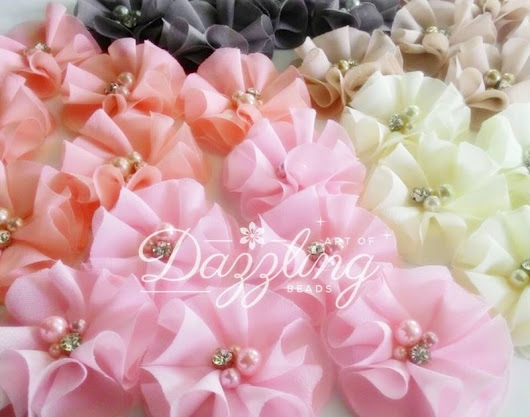 Blinky Fluffy | Fabric Flower by Art of Dazzling Beads