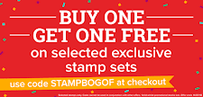 Buy one get one free stamp sets. Lowest price per set £2.99!