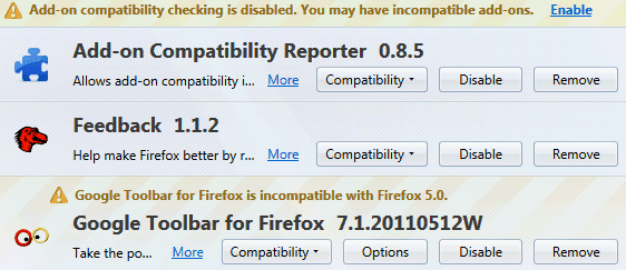 Firefox 5 Google toolbar extension