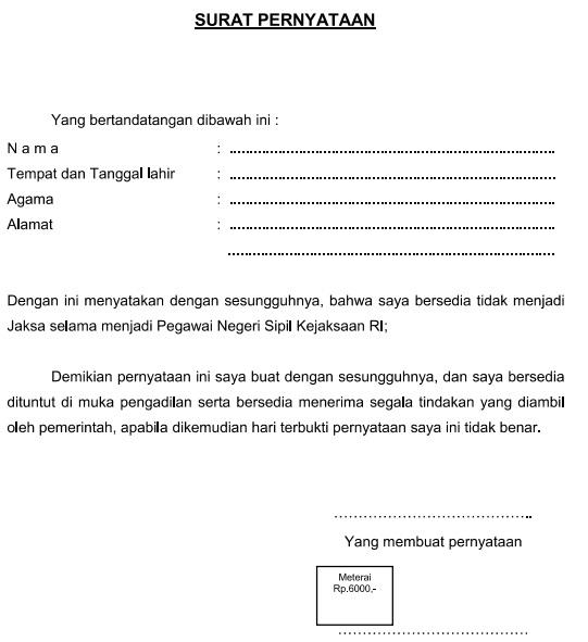 gambar contoh surat pernyataan tidak akan menjadi jaksa