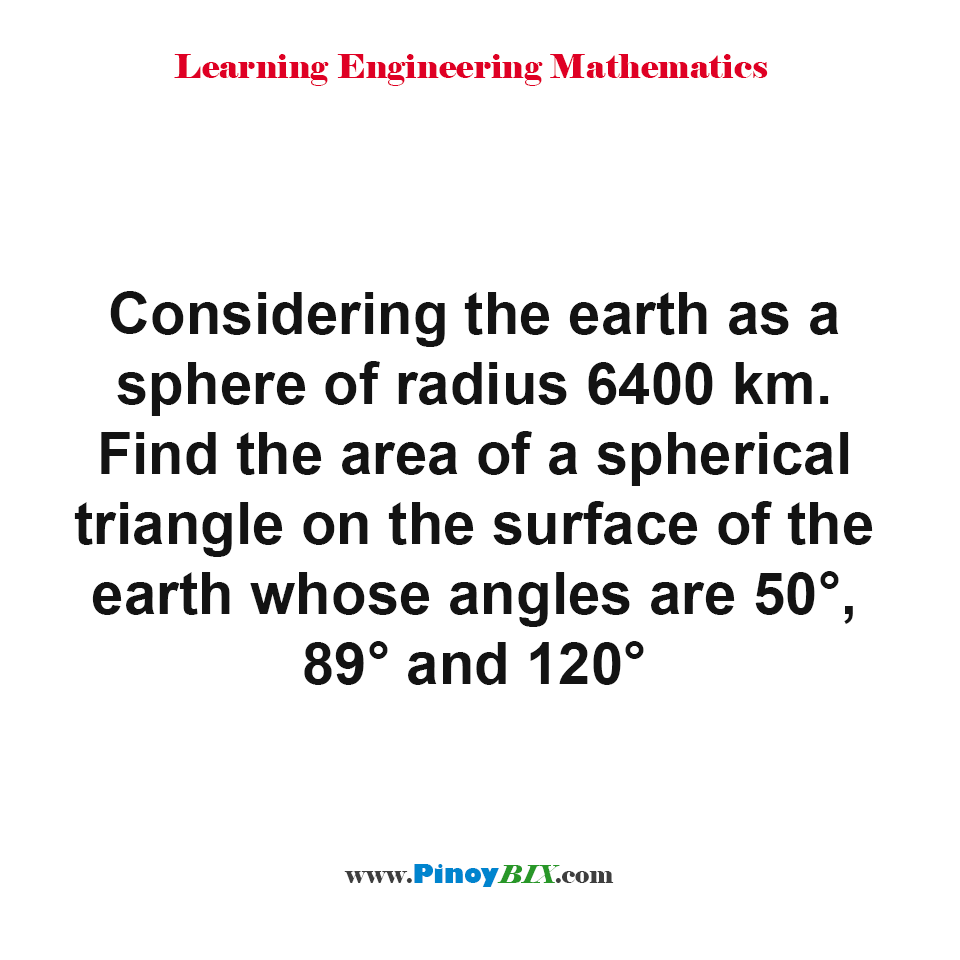 Find the area of a spherical triangle on the surface of the earth