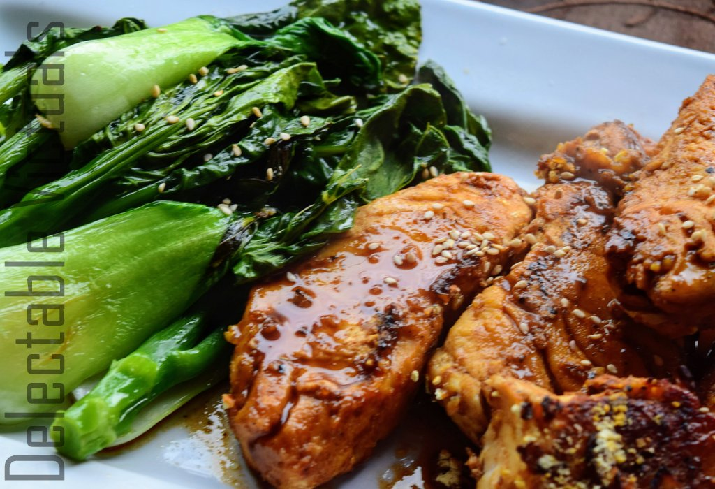 Teriyaki Halibut with Sauteed Garlic Gai Lan gai lon chinese broccoli