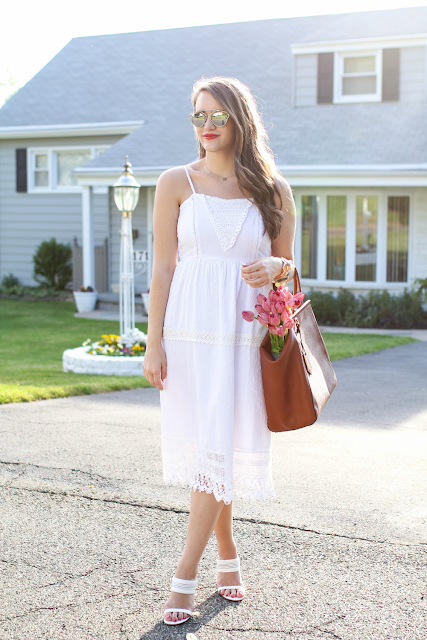 White Lace Midi Dress, White Dresses for summer, White dresses for initiation
