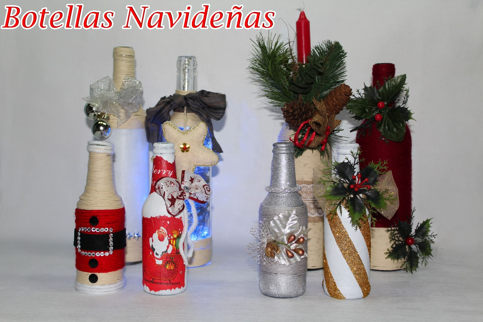 Manualidades herme 8 botellas decoradas navide as for Botellas de vidrio decoradas para navidad
