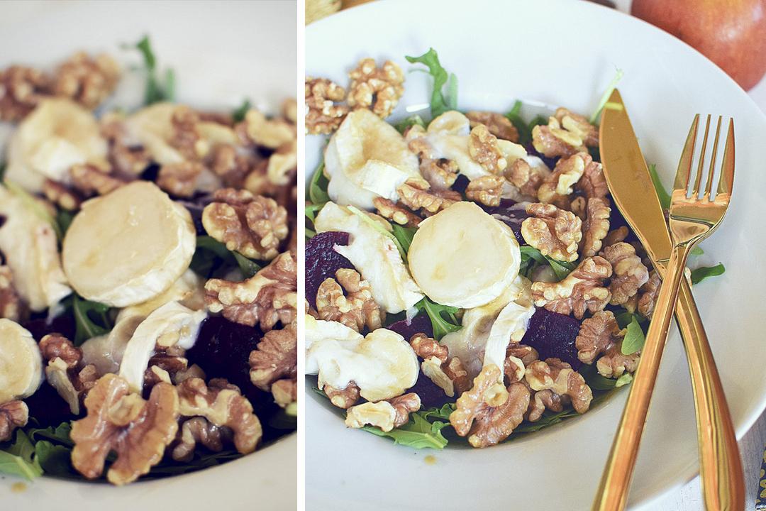 leckeres Salatrezept mit Rucola, Ziegenkäse, karamellisierte Walnüsse
