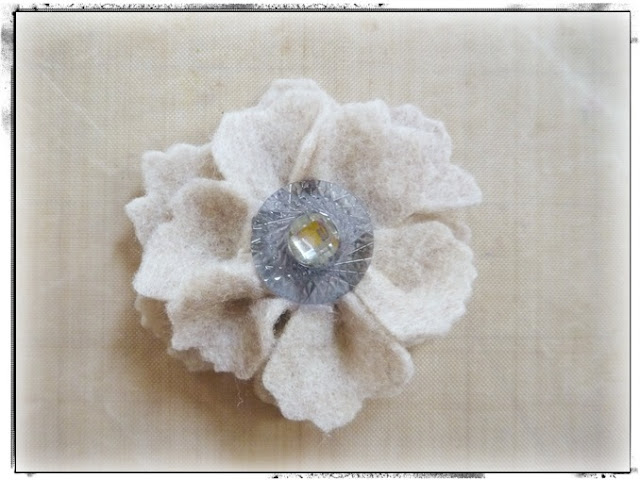 DIY Felt Flower with Vintage Button Center by Dana Tatar