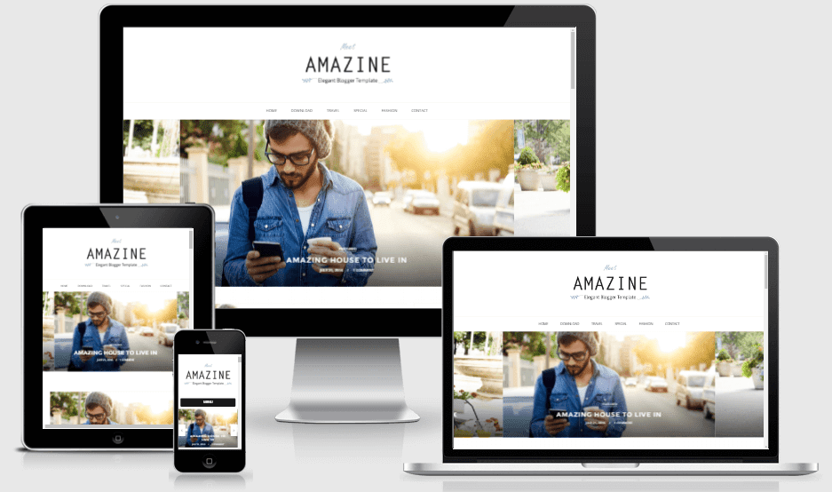 Download Amazine Responsive Elegant Blogger Template