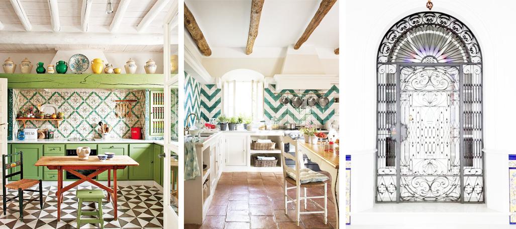 cocina andaluza decorada en tonos verdes, azulejos árabes y vigas de madera y suelo de barro