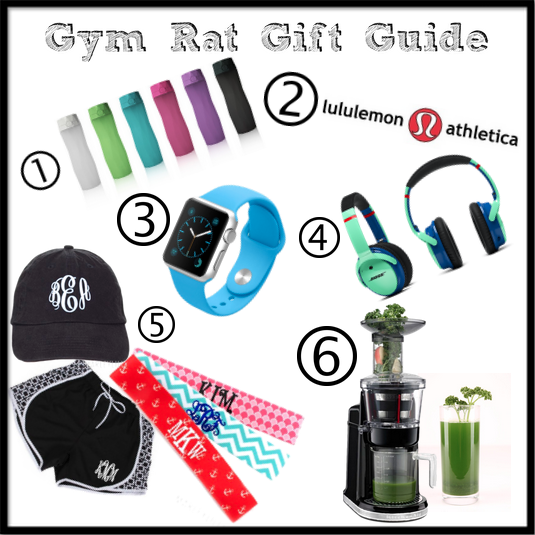 White background collage of items a gym lover would love for gifts