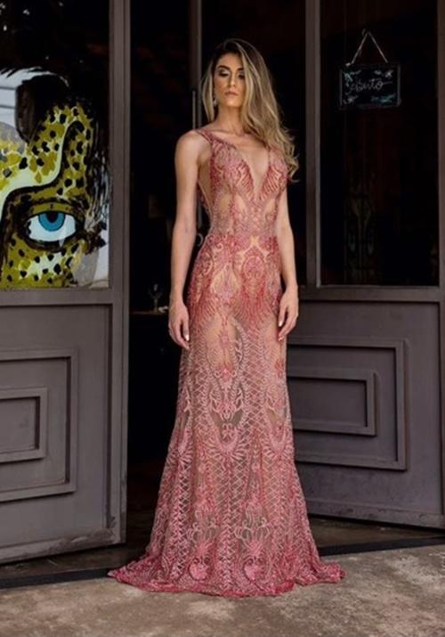 vestido longo transparência