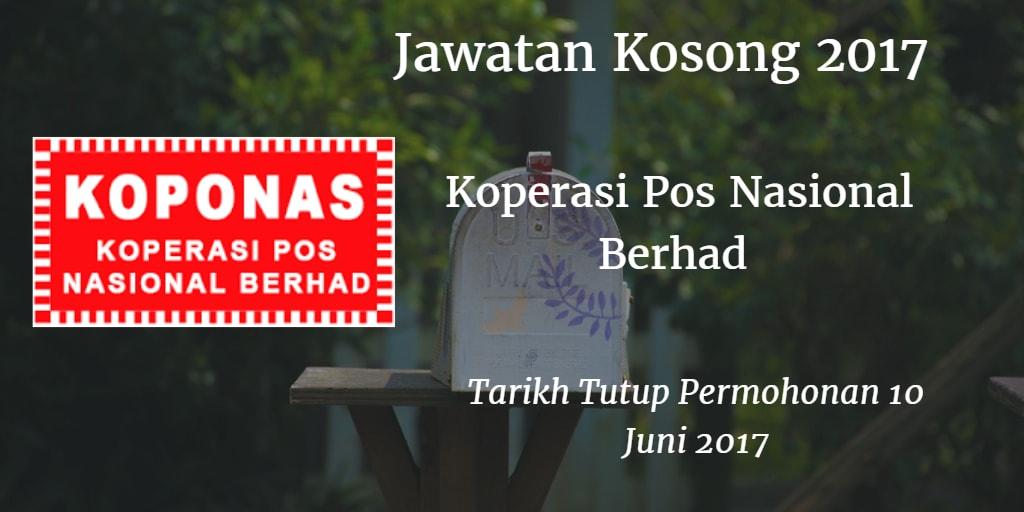 Jawatan Kosong KOPONAS 10 Juni 2017