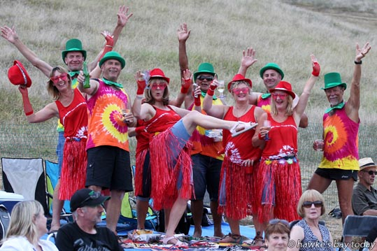 "Centre: Shelley Shackleton, Bucklands Beach, with family, the girls dressed as ""The Red Hat Chicky Peppers"", the men dressed as ""Irishman, to be sure, to be sure..."" - Simply Red, Mission Concert, Mission Estate Winery, Taradale, Napier. photograph"