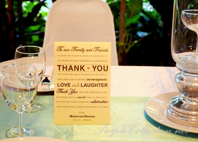 Thank you card printing, tent card, malaysia wedding, cetak, decoration, decor, deco, kuala lumpur, selangor, package, favour, simple, fonts, wordings, elegant