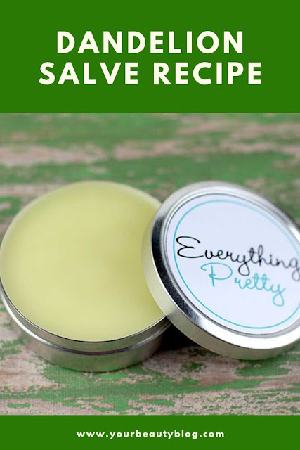 How to make a dandelion salve.  Learn the benefits and uses of this natural home remedies.  This dandelion salve recipes is made with real dandelions and infused oils.  Use this diy dandelion salve recipe for dry skin or eczema.  This is great for cuticles, cracked heels, or other areas of dry skin.  Herbal medicine with fresh dandelions from your yard.  #diy #dandelion #salve