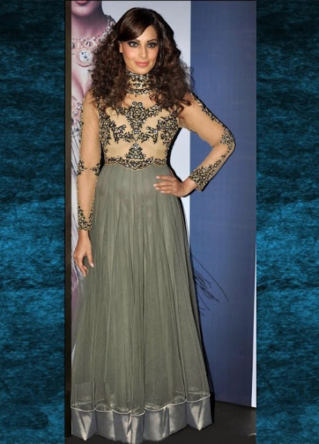 Bipasha Basu Grey Nylon Anarkali Suit