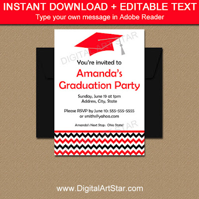 printable graduation party invitations for high school or college graduations in red and black with chevron