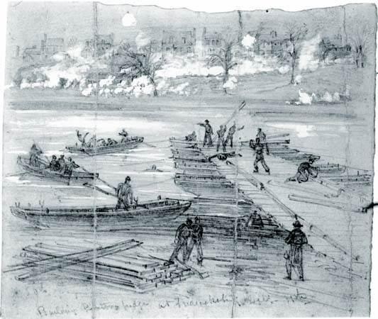Ingenieros de la unión que construyen un puente del pontón a través del río de Rappahannock
