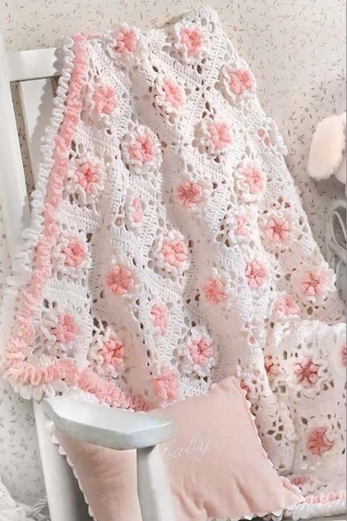 Floral Crochet Baby Blanket - Crochet Pattern