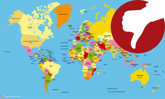 Mapa-múndi com erros de proporção