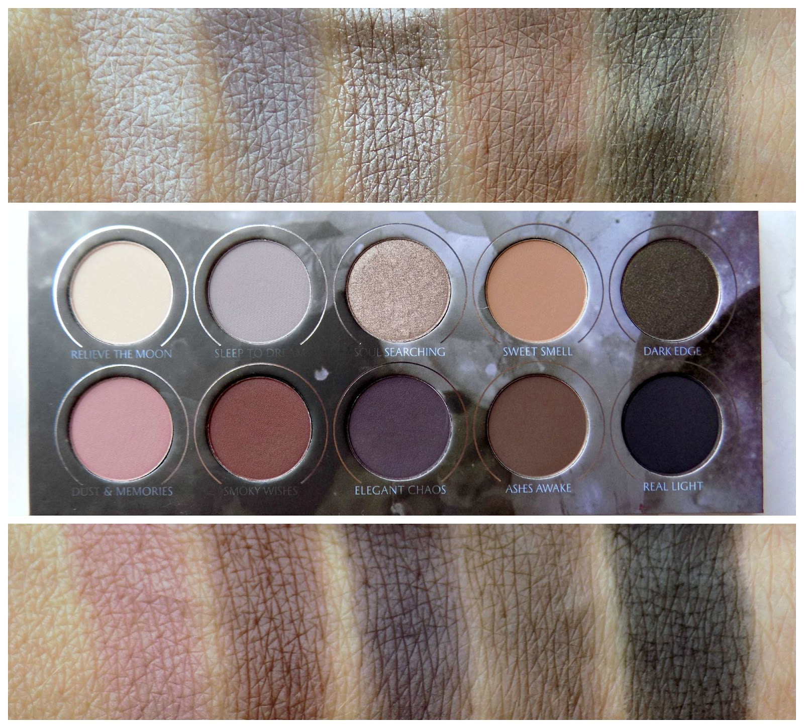 Zoeva Smokey palette swatches