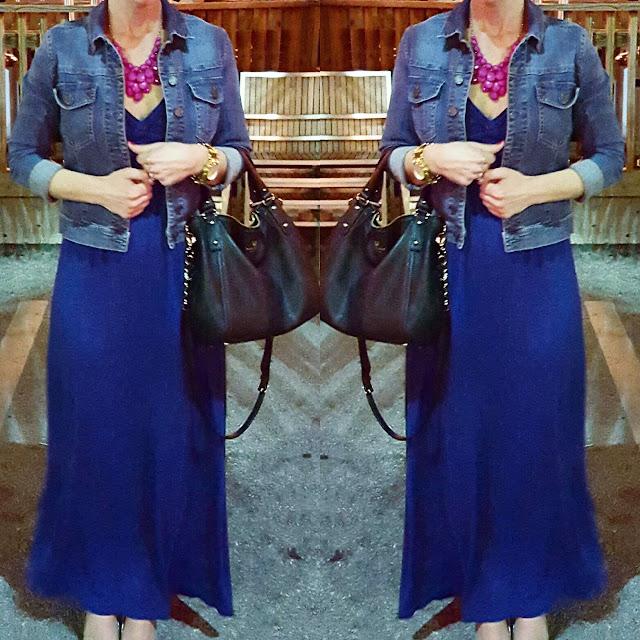 Kut From the Kloth Denim Jacket // Max Studio Maxi Dress (similar) // Kate Spade Pine Street Kori - 50% off! // Michael Kors Watch (similar under $40)
