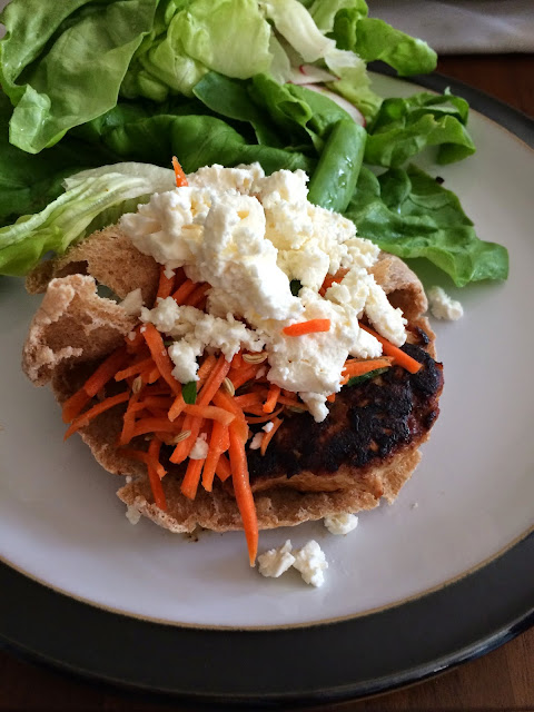 Moroccan Chicken Burgers With Feta And Carrot Slaw Recipe