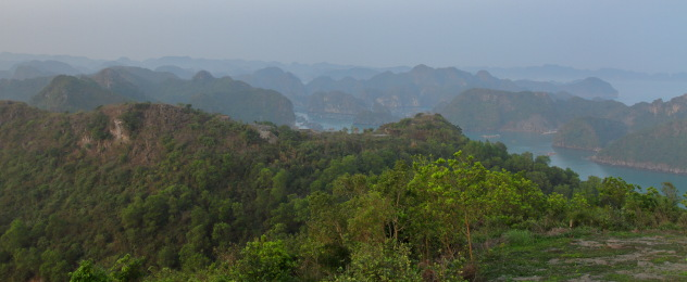 Gorgeous view of limestone karsts from Cat Ba Island, Vietnam