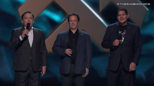 The Game Awards 2018 Shawn Layden Phil Spencer Reggie Fils-Aime heads of consoles PlayStation Xbox Nintendo