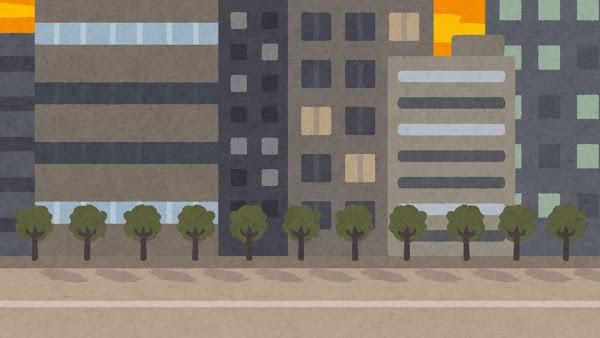 夕方のオフィス街・ビル街のイラスト(背景素材)