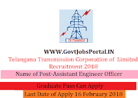 Transmission Corporation of Telangana Limited Recruitment 2018 – 330 Assistant Engineer