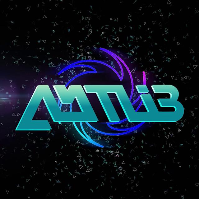 Imagen oscura con particulas flotantes y el logotipo del DJ Amtlib en medio