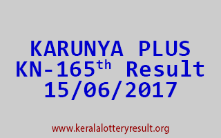 KARUNYA PLUS Lottery KN 165 Results 15-6-2017