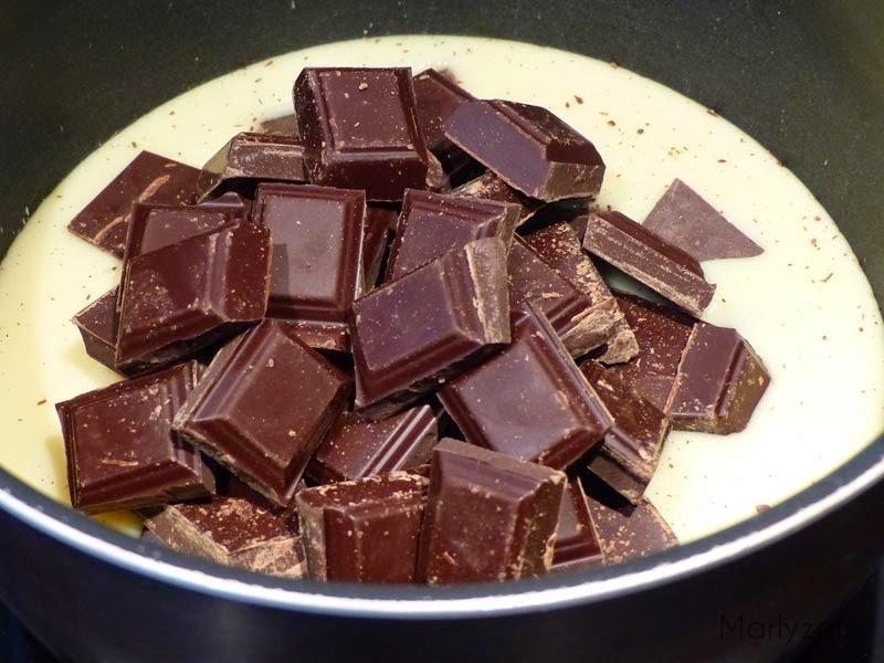 Lait concentré sucré et chocolat.
