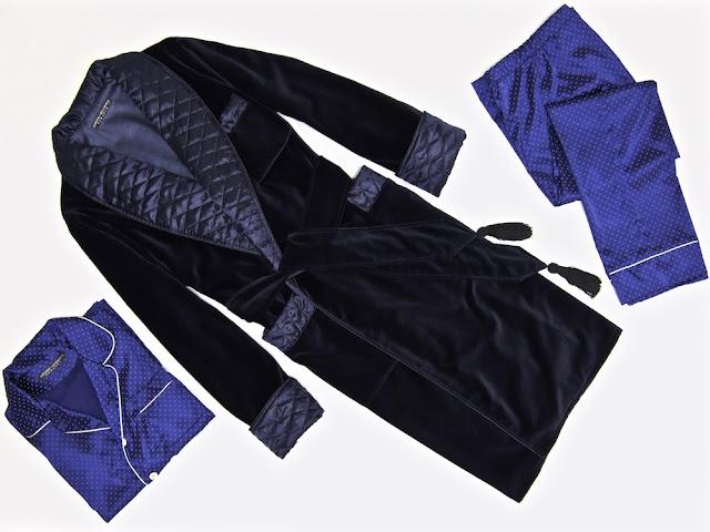 Mens blue velvet dressing gown quilted silk smoking jacket robe