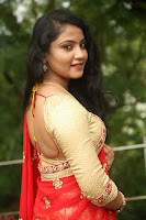 Akshara in Red Saree Golden Choli at LV Movie Makers Production No 1 Movie Opening ~  Exclusive 115.JPG