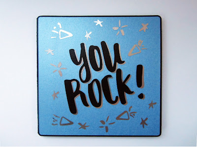 You Rock Card with Silhouette FREE design by Janet Packer (Crafting Quine) using silver adhesive foil and pearl card