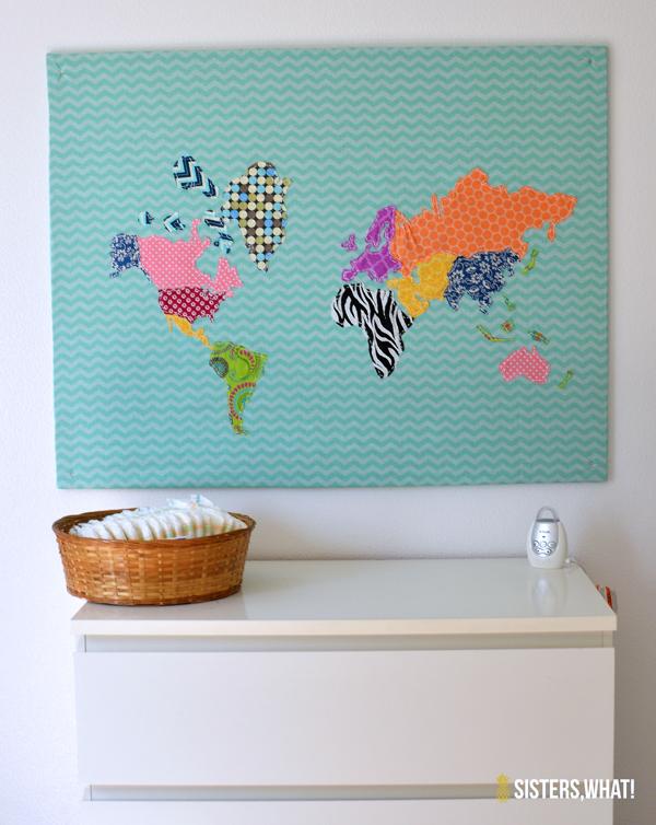 Fabric World Map on Cork Board