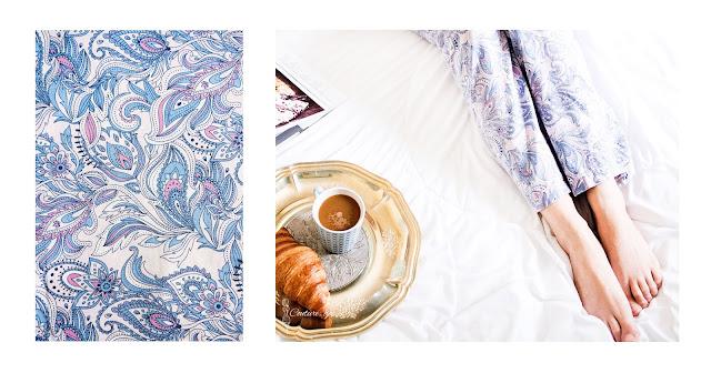 Paisley, piżama, śniadanie