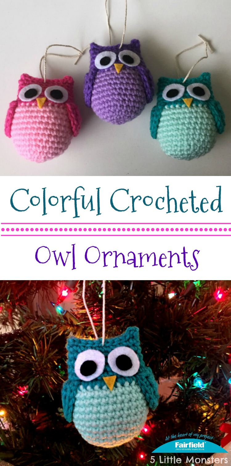 5 little monsters colorful owl ornaments you can find the free pattern for the colorful owl ornaments on the fairfield world site bankloansurffo Gallery