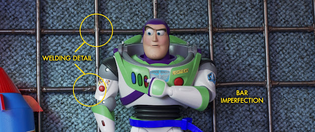 Buzz Lightyear from Toy Story 4 zip-tied to Carnival prize wall
