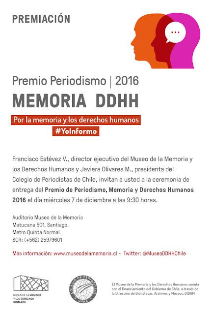 Invitamos a la ceremonia de Premiación Premio Periodismo, Memoria y Derechos Humanos 2016